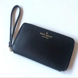 Kate Spade Black Leather Zip Wallet Wristlet